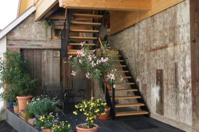 Holztreppenstufen mit Pflanzen - Holzbau - Holzhaus - Holzsystembau - PM Mangold