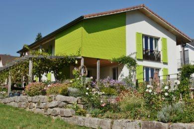 grüne Holzwand - Holzbau - Holzhaus - Holzsystembau - PM Mangold